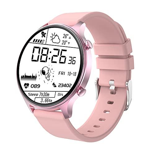 Reloj Inteligente, Relojes para Hombres Mujeres Fitness Tracker Monitor de Presión Arterial Monitor de Oxígeno en la Sangre Medidor de Frecuencia Cardíaca Monitor IP68 (Rosa)