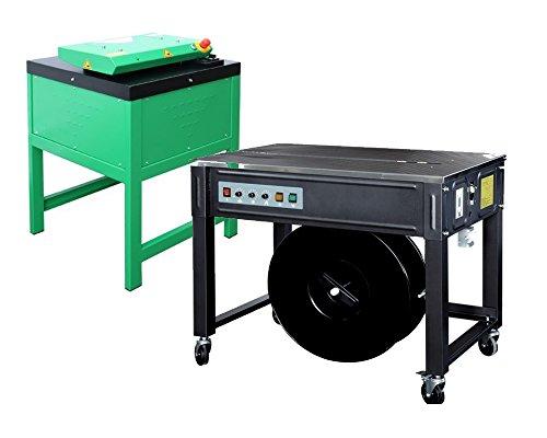 halbautomatische Umreifungsmaschine UP50F - Bündelmaschine - Verpackungsmaschine - PP Band Umreifung inkl. Kartonschredder