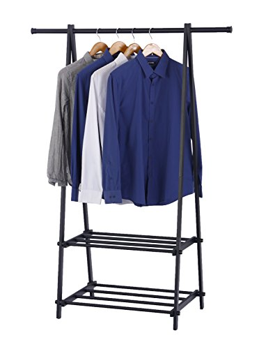 Finnhomy Black Metal Coat Rack One Layer Clothes Drying Rack Entryway Organize ¡­