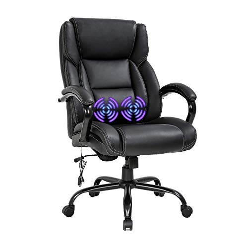 LCH Big and Tall Office Chair, 500lbs Wide Seat PU Leather Ergonomic Desk Chair Executive Chair 360 Swivel Rolling Chair with Massage Lumbar Support Armrest,Black