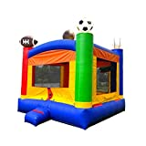 Inflatable Sports Bounce House - 13' Foot x 12' Foot Bounce Area - Crossover Rainbow Sports Castle Complete Setup - Includes: Blower, Anchor Stakes, and Storage Bag