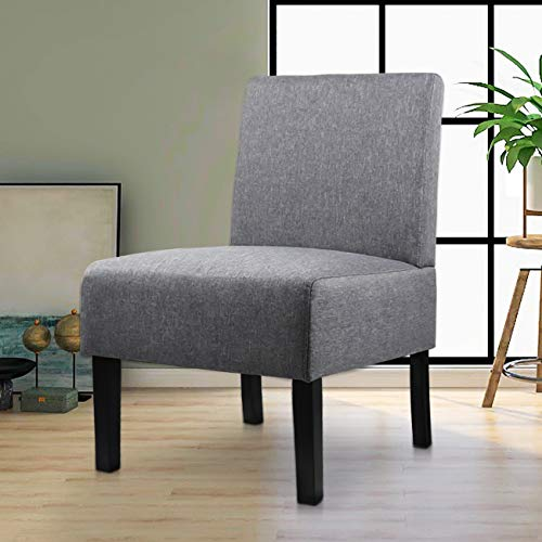 Modern Fabric Armless Accent Chair Decorative Slipper Chair Vanity Chair for Bedroom Desk Corner Side Chair Living Room Furniture Grey 1 Grey