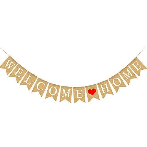 G2PLUS Welcome Home Leinen Wimpel Hessischen Girlande Vintage Rustikal Bunting Wimpelkette mit 12Stk Wimpeln für Haus Dekoration (Welcome Home)