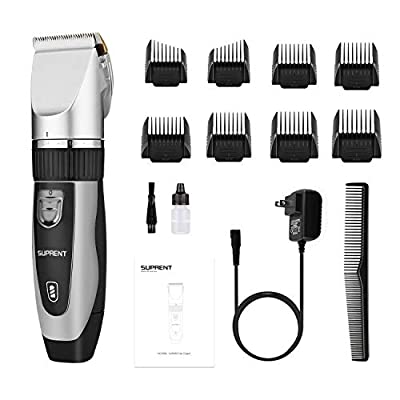 Cordless Hair Clippers for Men SUPRENT, 40 Lock-In Length Professional Hair Cutting Kit, Ceramic Blade Rechargeable Hair Trimmer for Kids Women Family Use (Sliver)