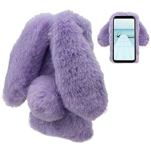 Plüsch Hülle Samsung Galaxy S9 Plus Flauschige Hasen Fell Hülle Handyhülle Für Mädchen Süße Winter Warm Weich Kaninchen Pelz Niedlich Hasenohren Handytasche Schützend Stoßfest TPU Silikonhülle-Lila