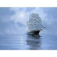 5Dダイヤモンド絵画Diyフルダイヤモンドリビングルームオフィス寝室ステッカードリル壁画帆船絵画,30*40Cm(12*16Inch)