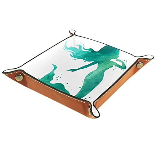 LXYDD Bandeja de Valet de Cuero Multiusos Caja de Almacenamiento Organizador de bandejas Se Utiliza para almacenar pequeños Accesorios,Verde Sirena