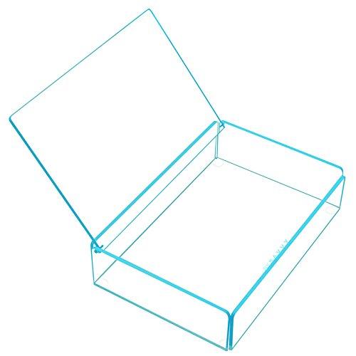 Disponible en 4colores transparente acrílico apilables bandeja con ribete de color brillante–azul,...