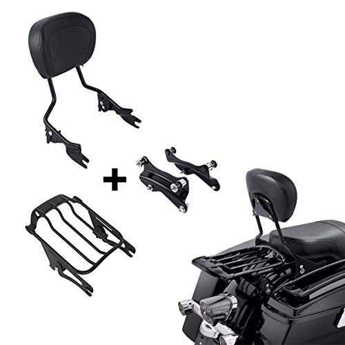 XFMT Detachable Passenger Backrest Sissy Bar With Air Wing Luggage Rack and 4 Point Docking Hardware Kits Fit For Harley Touring 2014-2020