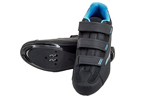 Tommaso Pista Women's Road Bike Cycling Spin Shoe Dual Cleat Compatibility- Black/Blue - 42