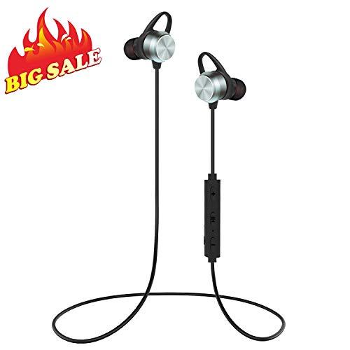 Auricolari Bluetooth, KOOHO E2 per lo Sport Bluetooth 4.1 Headset, Stereo per la Corsa, IPX6 Resistenti al Sudore, Cuffie Wireless con Microfono e Attrazione Magnetica per iPhone, Android