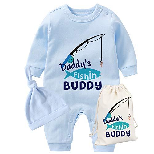 culbutomind YSCULBUTOL Baby Zwillinge Vatertag Kleinkind Mädchen Kleidung Papa Angeln Buddy Baby Strampler Geburtstag Kleid Gr. 68, Blue Dad Fishing