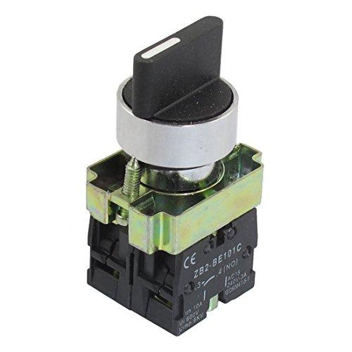 Interruptor de seleccion - TOOGOO(R)22 mm de enclavamiento 2 NO 3-posicion del selector Selector giratorio ZB2-BE101C Negro