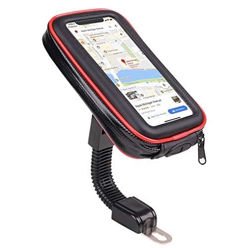 otutun Soporte Móvil Moto,Soporte Movil Bici Retrovisor Universal Soporte,360° Rotación Soporte Telefono Motocicleta para Teléfonos Moto con Pantalla Táctil Sensible hasta 6.5'(Rojo)