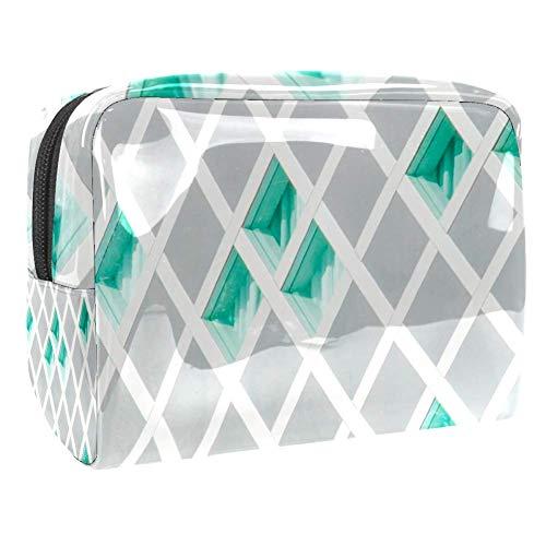 TIZORAX groen en grijs behang cosmetische zakken PVC Make-up tas reizen toiletten Handige Pouch Organizer voor vrouwen