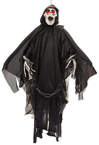 Prextex - Esqueleto Fantasma Animado con Ojos Rojos Que Brillan- Decoración para Halloween - 50,8 cm