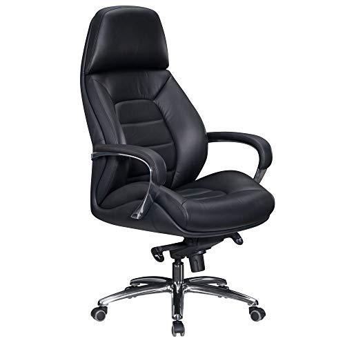 FineBuy Designer Bürostuhl Bezug Echtleder Schwarz Schreibtischstuhl bis 120 kg | XXL Design Chefsessel höhenverstellbar | Drehstuhl ergonomisch mit Armlehnen & hoher Rückenlehne | Wippfunktion