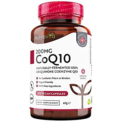 Co Enzyme Q10 200mg - 100% Pure and Naturally Fermented Ubiquinone - 120 Vegan Capsules of High Strength CoQ10 (4 Months Supply) - No Synthetic Additives or Excipients - Made in The UK by Nutravita