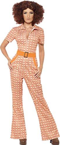 Damen-Retro-Kostüm /-Overall, 70er-Jahre-Stil, authentisches Design, Hippie-/ Disco-Stil, orange