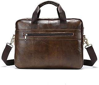FYXKGLan Men's Genuine Leather Bag Leisure Business Briefcase Cross Section Shoulder Messenger Bag Handbag (Color : Light Coffee)