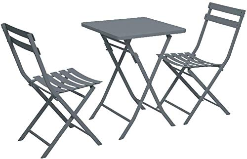 Auoeer Garden Table And Chairs Metal Folding Bistro Set, 2 Chairs And 1 Table, Folding Outdoor Patio Furniture Sets,Weather-Resistant Outdoor/Indoor Conversation Set For Patio, Yard (Color : Gray)