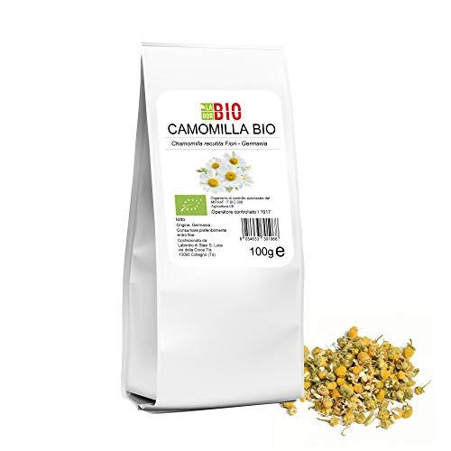 Camomilla tisana Rilassante fiori veri Bio per infusione 100 g - 100% Naturale senza zucchero indicata per i Neonati alta qualita' Vegan Demeter