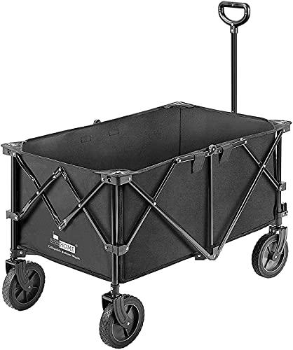 Carro de jardín plegable para uso al aire libre con 2 soportes para bebidas y ruedas para camping y picnic