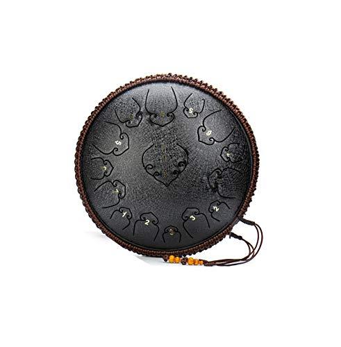 Zakjj Handpan Steel Tongue Drum15 Notas 14 Pulgadas Hand Steel Tongue Drum Hang Drum Instrumento Instrumento con Bolsa De Viaje,Black