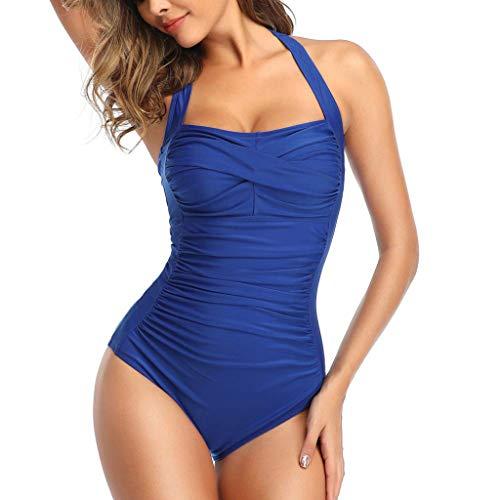 Dorical Damen Badeanzug Neckholder Schlankheits Badeanzug Rückenfrei Einteiler Sexy Bikini Push Up Tankinis Strandmode Bademode Bauchweg Strandbikini für Frauen Schwimmen Sommer(Blau,Medium)