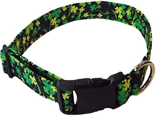 Britches4Stitches Shamrock Dog Collar - Green Gold St. Patrick's Day Saint Patty Fabric Adjustable Irish Lucky Puppy Black Glitter (XS- Toy Dog)