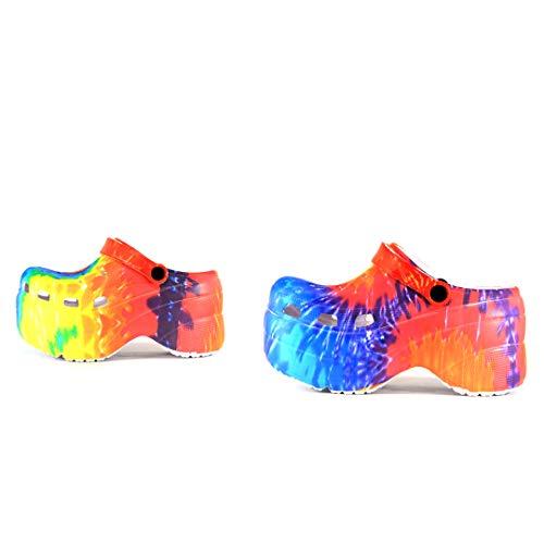 Cape Robbin Gardener Platform Clogs Slippers for Women Women Fashion Comfortable Slip On Slides Shoes  TieDye Size 10