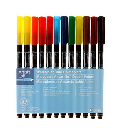 Artist's Loft Watercolor Dual Tip Markers, 12 Colors