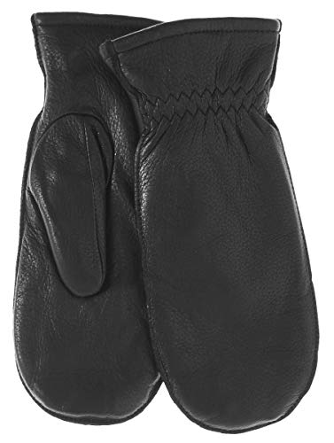 Snowfall Women's Deerskin Leather Mittens with Finger Liners by Pratt and Hart Size L Black