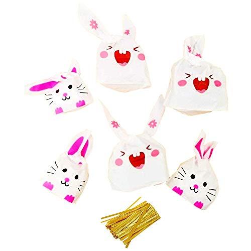 JZK 100 Konijnenoor kleine zoete zakjes feest behandeltassen voor snoep koekje snoep biscuit tas cadeau wikkelzak voor kinderen feestartikelen kinderen verjaardag feesttas