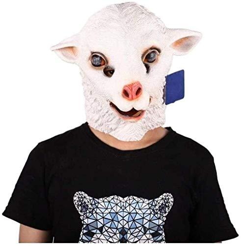 Chunjiao Schaf-Kopf-Schablonen-Halloween-Neuheit Tierkopf-Maske Kostüm Spiel mit Latex Niedliche weiße Schaf-Maske Halloween-Masken