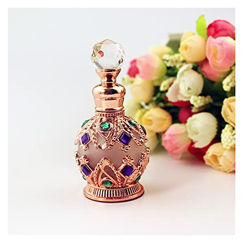 Botella de perfume de viaje 1 pieza 15 ml Vintage Metal Botella de perfume Estilo árabe Aceite Esencial Pegón de gotero Contenedor Regalo de decoración para herramienta de maquillaje líquido de perfum