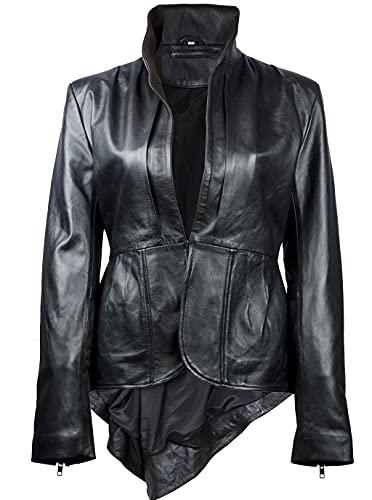 Tiptop Frill Designer - Abrigo de piel auténtica para mujer, estilo plisado, chaqueta peplum para mujer, color negro y rojo - negro - XXXL