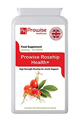Prowise Rosehip 5000mg 120 Tablets - High Strength Joint Support Supplement - UK Manufactured GMP Guaranteed Quality - Suitable for vegetarians & vegans from PROWISE HEALTHCARE