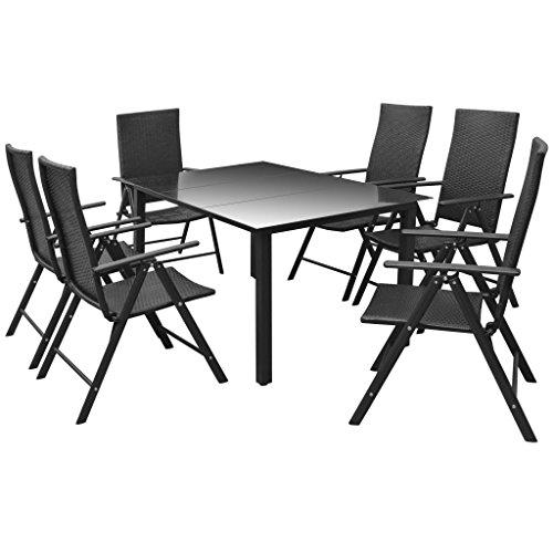 vidaXL Mobilier à Dîner d'Extérieur 7 pcs Salon de Jardin Mobilier de Patio Table et Chaises de Terrasse Aluminium et Résine Tressée