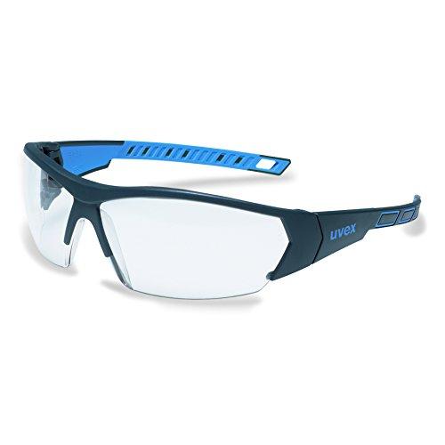 uvex i-works 9194 Unisex Brille EN 166 mit UV-Schutz + Mikrofaserbeutel - Sonnenbrille Schutzbrille Sportbrille Arbeitsbrille Radbrille (blau/klar)