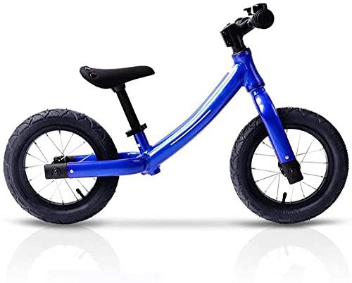 Bicicleta para niños y niñas, bicicleta de empuje para niños, sin pedal, con marco de acero al carbono ligero y manillar ajustable para 2 – 6 años de edad, azul