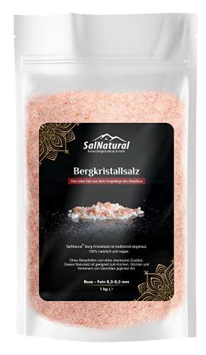 SalNatural© Rosa Fein Bergkristallsalz, Natur-Steinsalz Streusalz ( bekannt als Himalaya Salz) aus Salt Range-Pakistan .100% Naturbelassene & Ohne Konservierungsstoffe.