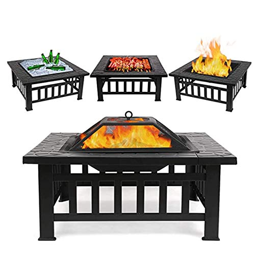 Tellgoy 32'' Outdoor Fire Pit Table, Multi-Purpose Square Fireplace Backyard Patio Garden Wood Burning Heater BBQ Ice Pit Suitable for Party Picnic Camp