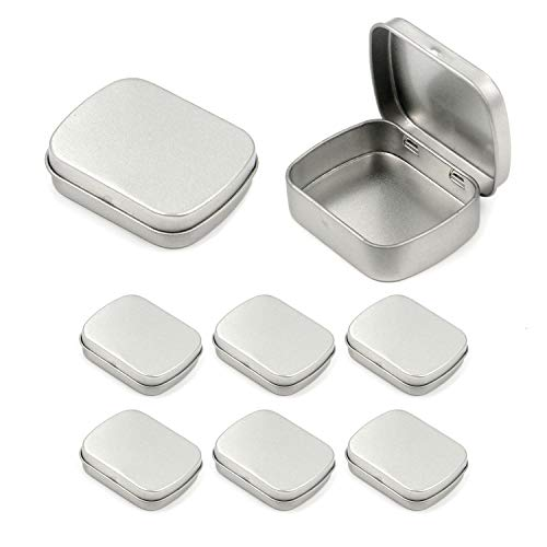Mironey Metal Rectangular Empty Hinged Tins Portable Mini Storage Case Box Containers with Lid for Candies Jewelry PillsSilver Tone8-Pack