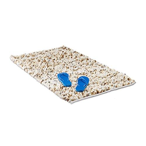 Relaxdays Badematte POPPY weich, handgefertiger Hochflor Teppich mit Noppen, Antirutsch Badvorleger 70x120cm, creme