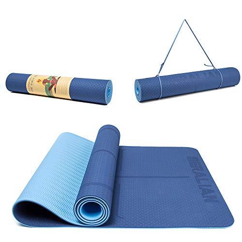 Yoga Mat, Eco Friendly Non Slip Exercise TPE Yoga Mat with Body Alignment System, Large Fitness Mat 183 x 66 x 0.6CM. (Dark Blue/Light Blue)