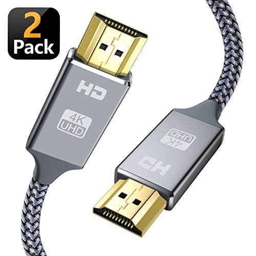 Snowkids Hdmi Kabel 2Meter,2 Stücke HS Ethernet,4K@60Hz18Gbps,Vergoldete Anschlüsse mit Audio,Kompatibel mit Video 4K UHD 2160p,HD 1080p,3D Xbox PS3/4