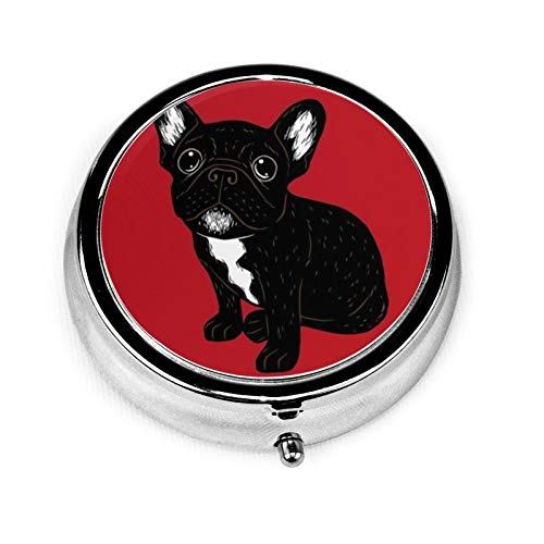 Round Medicine Box Portable Mini Metal Pill Case Little Pill Dispenser for Pocket Purse Handbag Travel Gift,Cute Brindle Frenchie Puppy
