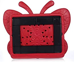 Butterfly Red Style Kids Thick Foam EVA Handle Kickstand Cover Case for iPad 2 3 4