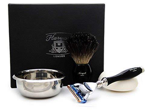 4 stuks Heren Scheren En Grooming Kit In Zwart Inclusief Zwarte Badger Haar Scheerborstel, 5 Edge Razor, RVS Bowl En Zeep Ideale Kit Voor Mannen